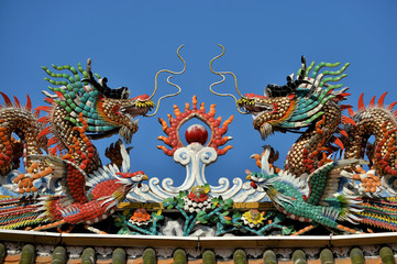 Colorful ceramic dragons on top of a Chinese temple