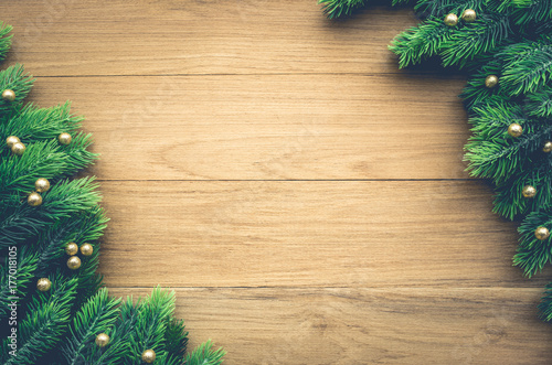 Christmas Background Ideas Concept With Pine Branch Decoration On Wood Table