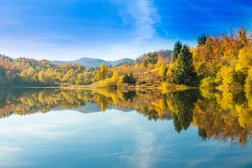 View of Mrzla vodica lake, beautiful colorful mountain autumn landscape, Gorski kotar, Croatia