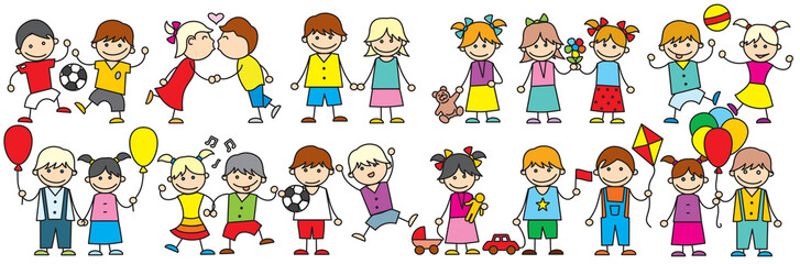 Happy Cartoon Kids. Doodle vector clip art