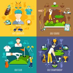 Wall Mural - Golf Game Flat Design Concept