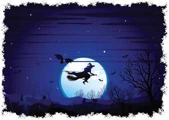 Halloween Background flying Witch over full Moon
