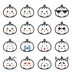 Pumpkin flat line emojis set for Halloween. Vector cartoon line illustrations of squashes. Collection of emoticons for social media apps.
