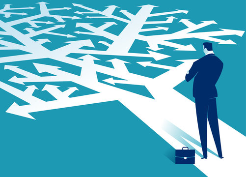 Decision. A businessman looks at arrows pointing to many directions. Concept business vector illustration