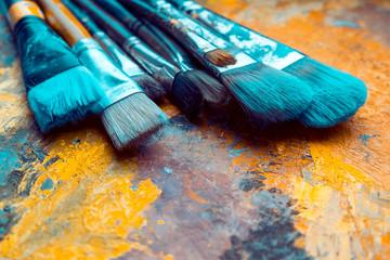 Artist Paint brushes on canvas