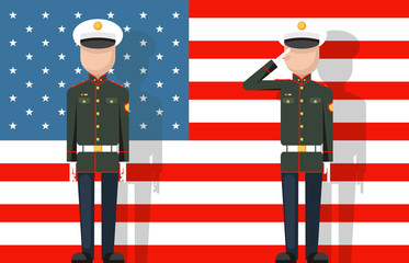 American military veteran ceremonial dress stands attention salutes flag background flat icon vector illustration