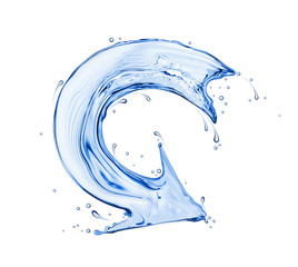 Curved arrow made of water, isolated on a white background