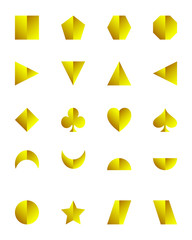 3D set of geometric shapes golden color isolated on white background