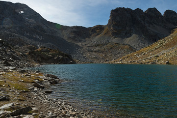 landscape of a high mountain lake at day