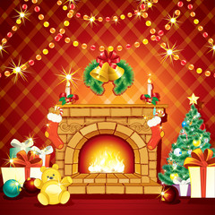 Festive Xmas Interior with Fireplase, Gifts and Pine Tree