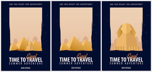 Set of Posters Travel to Egypt. Journey, trip and vacation. Vector travel illustration.