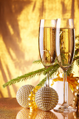 Champagne. New year and Christmas.