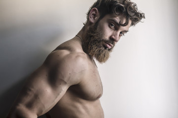 muscular handsome male model  looks provocative directly at the camera in natural light, hipster man