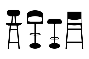 Bar stool icon - four variations. Silhouettes of bar stools. Bar stools isolated on white background .Vector illustration.