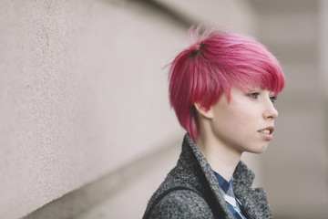 portrait of girl with pink hair, selective focus