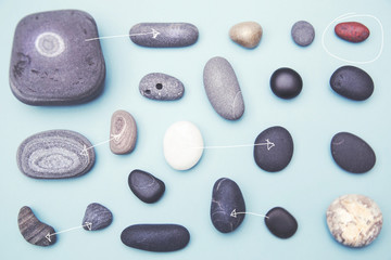Pebble collection with arrows