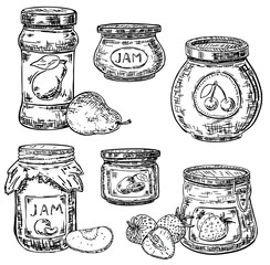 Vector ink hand drawn style fruit jam jar icon set