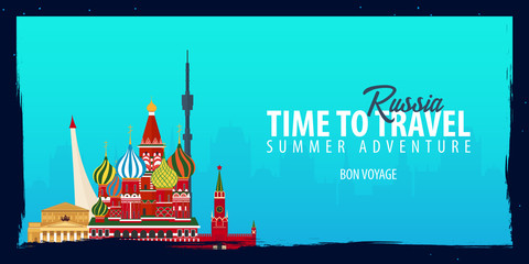 Russia banner. Time to Travel. Journey, trip and vacation. Vector flat illustration.