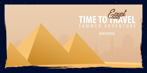 Egypt banner. Time to Travel. Journey, trip and vacation. Vector flat illustration.