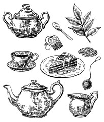 Vector ink hand drawn sketch style tea set