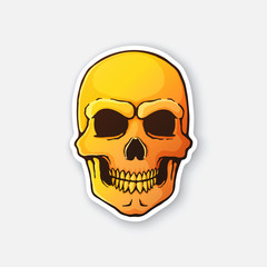 Vector illustration. Human skull with a terrible smile. Fiery bloody evil skull head. Symbol of death. Sticker in cartoon style with contour. Isolated on white background