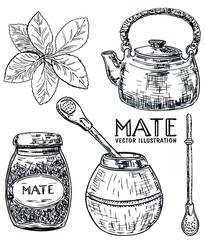 Vector ink hand drawn sketch style yerba mate tea set