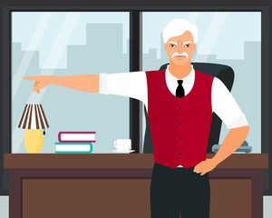 Angry boss pointing the finger vector flat illustration