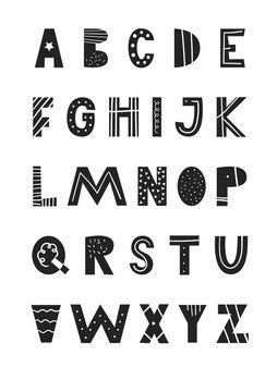 ABC - Latin alphabet. Unique hand drawn nursery poster with handdrawn letters in scandinavian style.