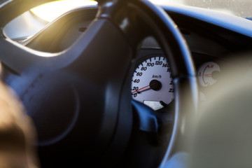 Speedometer and tachometer in the sports car