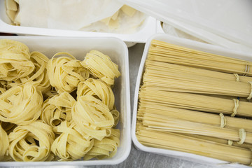 Two types of fresh pasta in boxes