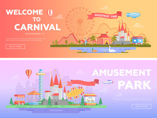 Amusement park - set of modern flat vector illustrations