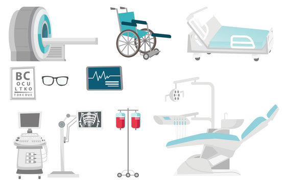 Medical equipment illustrations set. Collection of medical equipment including hospital bed, MRI, x-ray scanner, wheelchair, dental chair. Vector cartoon illustrations isolated on white background.