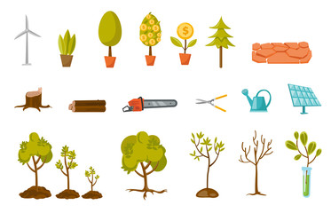 Trees and plant illustrations set. Collection of trees, money tree, potted plant, chainsaw, trimmer, watering can, sprout in a test tube. Vector cartoon illustrations isolated on white background.