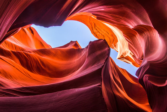 Colorful sandstone formation inside Lower Antelope Canyon