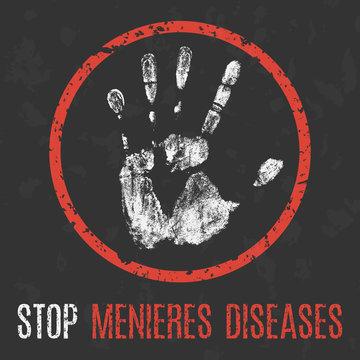 vector illustration. Human sickness. Stop Menieres diseases (MD)