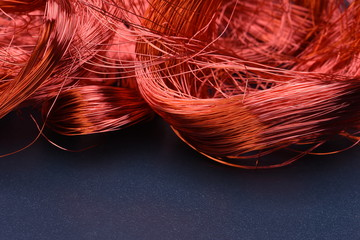 Closeup of Copper Wire on Metal Board with Copy Space