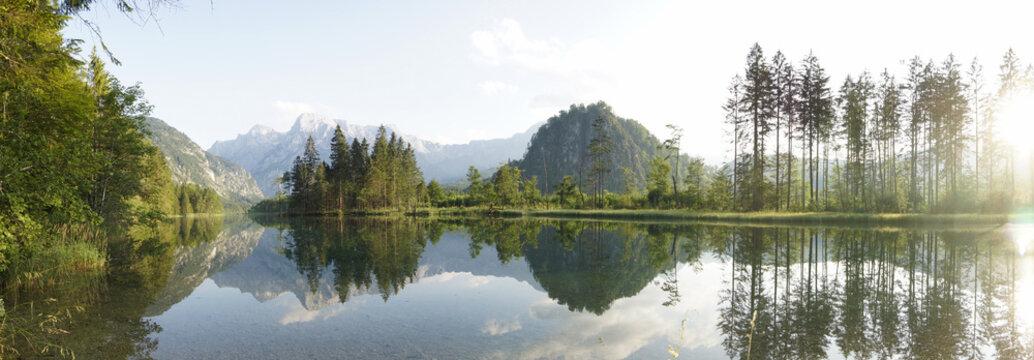 Panorama of lake Almsee in Gr??????_nau, austria