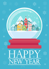 Vector illustration of glass ball with snowy town and Happy New Year words. Christmas greeting card.