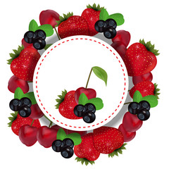 Berries label with strawberry, cherry and blueberry. Vector