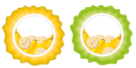 Label with banana. Set templates for design. Vector