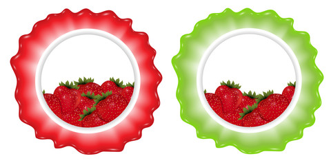 Berries label with strawberry. Set templates for design. Vector