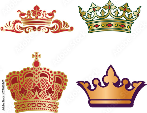Set Of Different Type Monarch Crowns For King And Queen Prince And