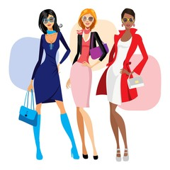 Ladies' dress. women and bags