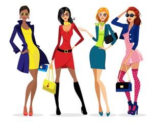 Ladies' dress. women and glasses
