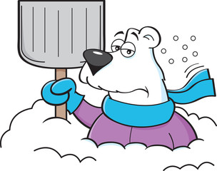 Cartoon illustration of a polar bear holding a snow shovel.