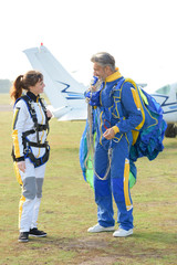 skydivers having a conversation