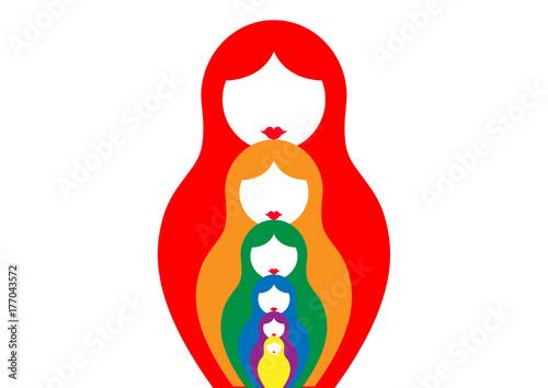 Russian Nesting Dolls Matrioshka Set Icon Colorful Symbol Of Russia