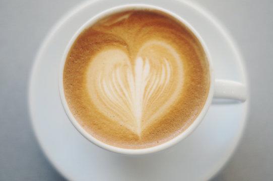 Latte with heart shape