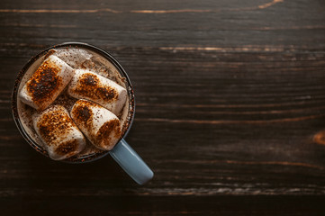 a mug of hot chocolate with marshmallow.