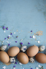 Photo of eggs on a blue table